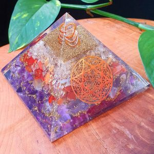 Flower of life and Merkaba Orgonite with Amethyst, Carnelian and Rutilated Quartz